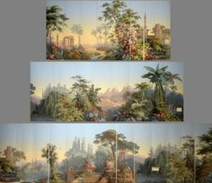 This flamboyant panoramic wallpaper, first printed in 1848, has 24 breadths that are hand printed with 1554 blocks and 210 different colors. The scenic Zuber El Dorado depicts four major continents, Europe, Asia, Africa and the Americas. Zuber Wallpaper, Scenic Wallpaper, Wallpaper Panels, Antique Wallpaper, Mural Painting, Mural Art, Wall Murals, Wall Art, Stair Gallery