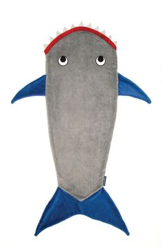 Shark Blanket by Blankie Tails - Gray and Deep Blue (Child/Youth 3-12 Years Old) from Blankie Tails