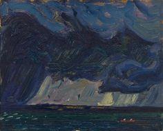 Storm Lake Simcoe, Ontario    -   James Edward Hervey MacDonald , c.1920.  Canadian, 1873-1932  Oil on board, 8 x 10 3/8 in.