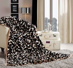 NEW LEOPARD PRINT LUXURY Cashmere Super Soft Luxurious Sofa Bed Throw Blanket 16050404