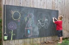 16. Tap into your artistic side with a giant chalkboard. | 39 Coolest Kids Toys You Can Make Yourself