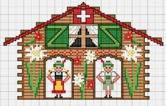 Love this online counted cross stitch pattern of a Swiss chalet!