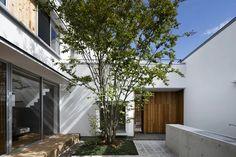 ニュータウン内の住宅建て替え。中庭を中心に家族の部屋が緩やかにつながる家。