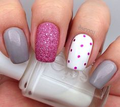 Pink, white and gray nail deign (Essie)