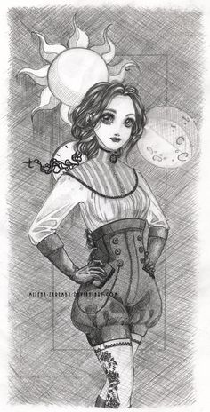 For Basia C:  #manga #anime #art #artwork #rysunek #drawing #sztuka #ołówek #ołówki #pencil #pencils #grey #gray #szary #girl #dziewczyna #steampunk #vintage #retro #sun #moon #clock #time #zegar #słońce #księżyc #warkocz #braid #shorts #spodenki #kawaii #cute