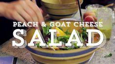 Peach Cheese Salad :Dressing: Juice 1 lemon,1 tbsp minced garlic, 1 tsp Dijon mustard,¼ tsp salt,¼ tsp of cracked pepper,¼ teaspoon of Nature's seasoning,½ c olive oil,1 tsp finely chopped Rosemary.Combine in a lidded jar.Shake and pour! Salad:50/50 spring mix (Butter & Bibb!), basil & mint leaves, 2 peaches, ½ log goat's cheese, 1 tsp honey, Drizzle honey over goat's cheese in a small bowl. Combine salad greens and peaches. Crumble honey goat's cheese on top of salad mixture.