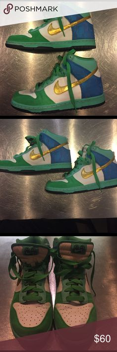 Nike 6.0 Womens High top Dunk Sneakers. Size 9 Nike 6.0 Womens High top Dunk Sneakers . Size 9. Blue green and white with gold Swoosh. Fashionable and fun. Worn twice, great condition. Make an offer! Nike Shoes Sneakers
