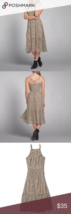 Abercrombie & Fitch Leopard Midi Daphne Dress sz S • Abercrombie Daphne leopard dress  • Euc  • Size small  • Lined  • Spaghetti dress  • 100% polyester  • Length 47 Bust 36 Waist 27 Abercrombie & Fitch Dresses Midi