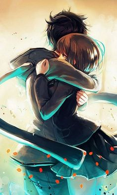 anime boy wallpaper junge und mädchen sich umarmen romantisch blau schwarz Anime Art, Fantasy, Drawings, Illustration, Fictional Characters, Wallpapers, Display, Backgrounds, Hug