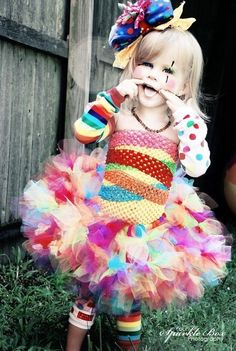 I may be able to get over my fear of clowns if my princess wore this! Or she could be rainbow bright!