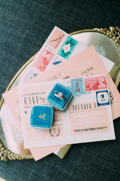 Colorful + modern invitation suite: http://www.stylemepretty.com/rhode-island-weddings/bristol/2016/01/25/colorful-elegant-linden-place-wedding/ | Photography: Emily Delamater - http://emilydelamater.com/