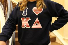 "Dulce Taylor Custom ""I Heart"" Greek Letter Crewneck Sweatshirt $32  I am in love! 'Mercia & KD. What could be better?"