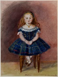 1859 Princess Beatrice Mary Victoria Feodore, youngest daughter and ninth and final child of Queen Victoria and Prince Albert Watercolor by Queen Victoria Queen Victoria Children, Queen Victoria Family, Queen Victoria Prince Albert, Victoria And Albert, Princess Victoria, Daily Queen, Princesa Beatrice, Victoria's Children, Royals