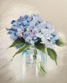 Когда на #порисовать лишь 30-40 минут Бумага #Derwent, Пастель #Rembrandt#пастель #рисуюпастелью #цветыпастелью #гортензия #цветы