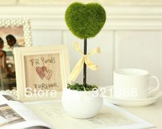 Free Shipping Hot Sale Artificial Plant ,Artificial heart shape plant with ceramic vase set,IKEA stype decoration US $11.50