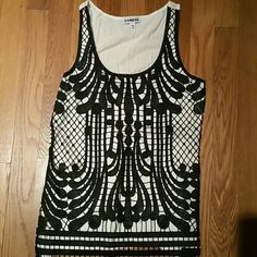 Express front lace tank size xs Cream with black lace overlay on front only. Excellent condition. Express Tops
