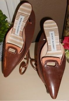 Auth $595 Manolo Blahnik Brown Distressed Leather Mules Slides Shoes 35 5 5 5 | $125 on eBay