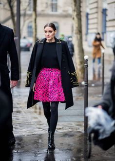 Olivia Palermo outside Balmain on March 2 2018 in Paris France