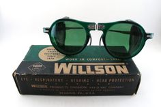 Vintage Willson safety glasses frames with hinged bridge and side visors.  #vintage #sunglasses #willson