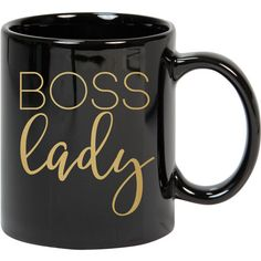 Boss Lady Coffee Mug Gold Coffee Cup Inspirational Mug Gift for Boss... found on Polyvore featuring home, kitchen & dining, drinkware, mugs, drink & barware, grey, home & living, personalized coffee mugs, personalized mugs and gold coffee cups