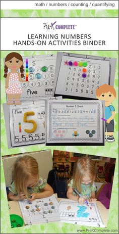 Learning Numbers Hands-on Activities Binder by Pre-K Complete. Perfect for teaching number identification, counting, quantifying, writing, fine motor skills and more!