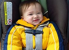 """Think your child should wear their heavy coat while in their carseat? Think again! Bulky coats leave too much """"slack"""" in the harness system putting your child a greater risk of injury!"""