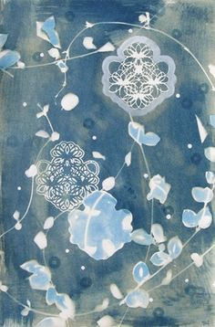 Artist Terri Dilling, Arise 1, cyanotype and gouache