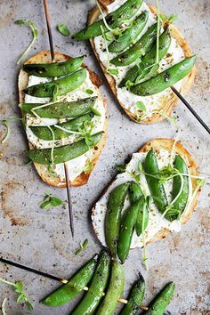 Grilled snap pea and whipped ricotta toast.