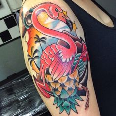 My beautiful flamingo tattoo, fone by Liwuan at Goodfellas, Brasília - DF, Brazil.
