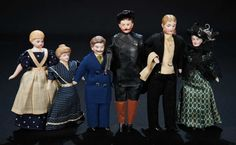 Six All-Original German Bisque Dollhouse People 800/1200