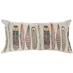 "Large Feathers Lumbar 16""x32"" #16""-x-32""-Lumbar #Feather from Coral and Tusk #pillow"