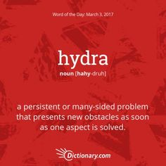 Hydra: a persistent or many-sided problem that presents new obstacle as soon as one aspect is solved Words To Use, New Words, Definitions, Meant To Be, Vocabulary, Learning English, Vocabulary Words