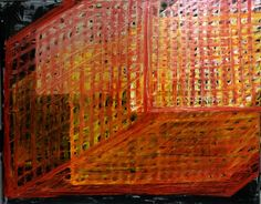 Abstract oil painting representing the many parts of human physiology