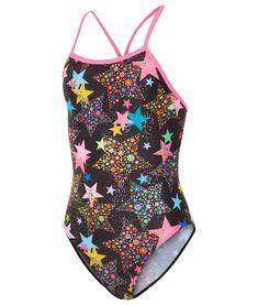 Neon Zebra Sparkle Rave Back Maru Multi Junior Swimsuits