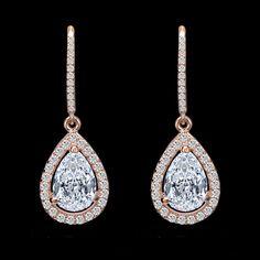 Latest Design Copper Material Cubic Zirconia Teardrop Earring Elegant Rose Gold Dangle Earring Bridal Wedding Party Jewelry