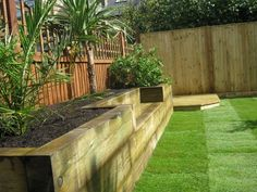 small garden raised bed sleepers lighting - Google Search