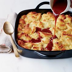 Vanilla Ice Cream Bread Pudding with Whiskey Caramel | Food and Wine's top Thanksgiving desserts include apple crisp, salted-caramel cheesecake and pumpkin cake. Plus more of the top Thanksgiving desserts.