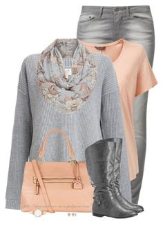 """""""Knit Sweater & Floral Print Snood"""" by stay-at-home-mom ❤ liked on Polyvore featuring Levi's, Six Crisp Days, Avenue, BERRICLE and Anne Klein"""