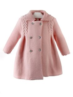 Baby Girls Beige Knitted Pram Coat for Girl by Foque. Discover more beautiful designer Coats Baby Knitting Patterns, Knitting For Kids, Crochet For Kids, Baby Patterns, Knitting Projects, Baby Cardigan, Hooded Cardigan, Tricot Baby, Knit Baby Sweaters