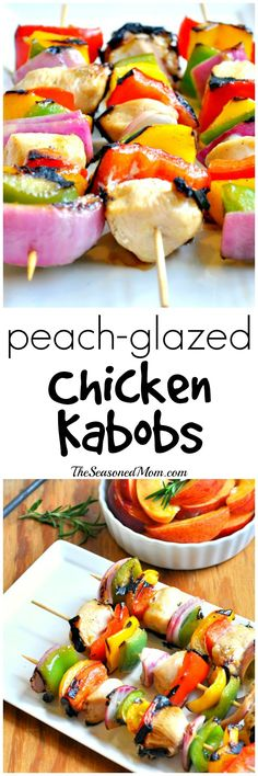 Summer on a Stick!! Peach Glazed Chicken Kabobs are a family-friendly, easy, healthy, and delicious dinner!