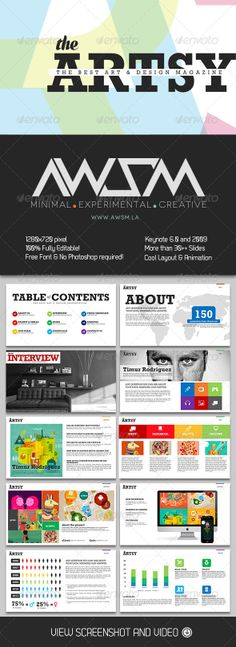 Artsy Magazine Keynote Template - Creative Keynote Templates