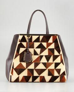 V15S0 Fendi 2Jours Cut-Velvet Pattern Leather Tote Bag Fendi 2jours b56980e596