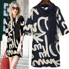 Casual šaty New Fashion 2014 jeseň / Summer Women Street Letter Vytlačiť Novinka Mini morálky šaty s šatkové M-XXXL SV001261