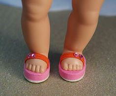 "Yummy Orange and Pink! ~FLiP-FLoPs~ for Reproduction and Vintage Ginny, Muffie, and Madame Alexander 7.5""-8"" DoLLs Newly created and at my website www.karmelapples.com now in stock. These are not for Modern Ginny 8"" dolls, but I can make flip flops like this for her, but they will have two straps and are designed a little different to fit her foot. Other colors available. Click the pix to take you there."