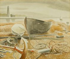 """""""Anchor and Boats, Eric Ravilious, The work depicts Rye Harbour, in East The original artwork is in a private collection. Falmouth, A4 Poster, Poster Prints, Art Print, Rye Harbour, Dulwich Picture Gallery, George Grosz, The Embrace, Vintage Artwork"""