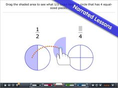 Fractions - by Brainingcamp 1. Fractions Introduction 2. Equivalent Fractions 3. Common Denominator 4. Comparing and Ordering Fractions 5. Adding and Subtracting Fractions 6. Multiplying Fractions 7. Dividing Fractions  Lesson with visual models and audio narration to make abstract concepts concrete  Everything you need for teaching and learning: (1) Narrated lesson (2) Practice questions (3) Virtual manipulative (4) Challenging game  Suitable for ages 9-14 50MB