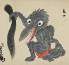 """髪切 : Kamikiri"" from ""化物尽絵巻  Bakemono zukushi Emaki"" by 北斎季親 : Hokusai-Suechika"