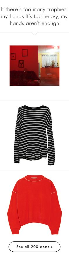 """Ah there's too many trophies in my hands It's too heavy, my hands aren't enough"" by jaykitten123 ❤ liked on Polyvore featuring tops, sweaters, scoop neck top, long sleeve tops, stripe top, striped long sleeve top, striped top, shirts, jumper and tomato red"