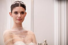 Rhinestone-encrusted headbands at the Monique Lhuillier Bridal Spring 2016 show // Wedding Hair and Makeup Ideas From Bridal Fashion Week