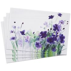 Decorate your table with the purple design of these woven PVC floral placemats.